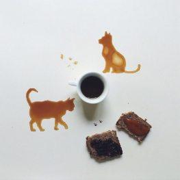 Kutya és macska - Festmények kávéból - Giulia Bernardelli