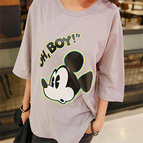 PINKSISLY - Elbow-Sleeve Printed T-Shirt