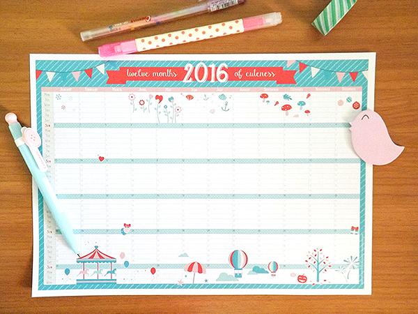 Kawaii Calendar 2016