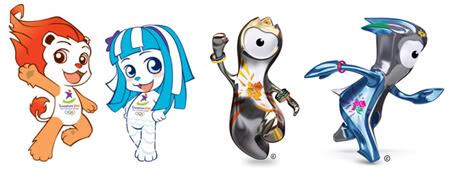Le mascotte di Singapore 2010 e Londra 2012