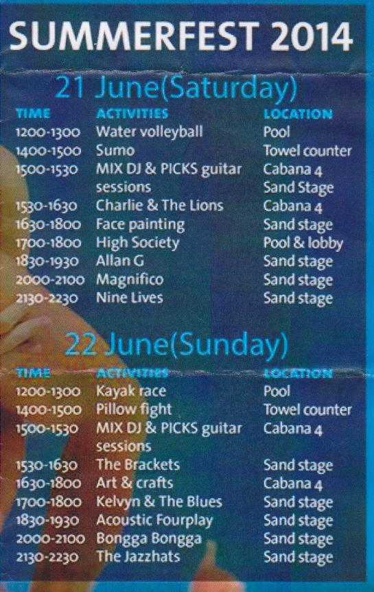Hard Rock Hotel Penang Summerfest 2014 Event List