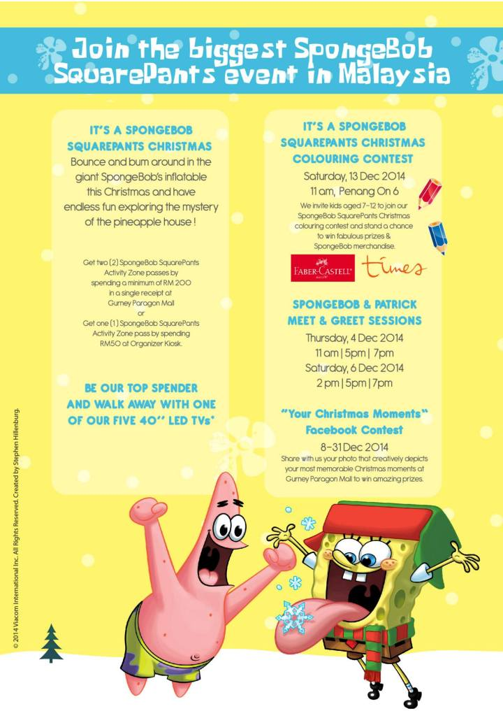 Celebrate Holiday with spongebob squarepants in Gurney Paragon mall