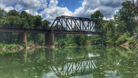 Railroad bridge on the Illinois River near Watts, Oklahoma.