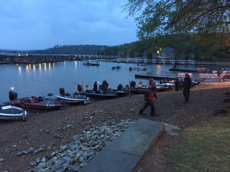 Bass Boat vs Kayak - Bass boats ready to motor all over Beaver Lake for a big tournament.