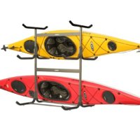 Stoneman Sports G-535-C4 Glacik Freestanding Portable 5-Kayak or Canoe Storage Rack with Heavy-Duty Caster Wheels, Double Sided, Bronze Colored Finish