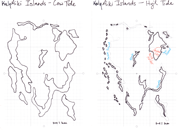A map of the Kalqaiki Islands that shows the extreme differences between high and low tides.