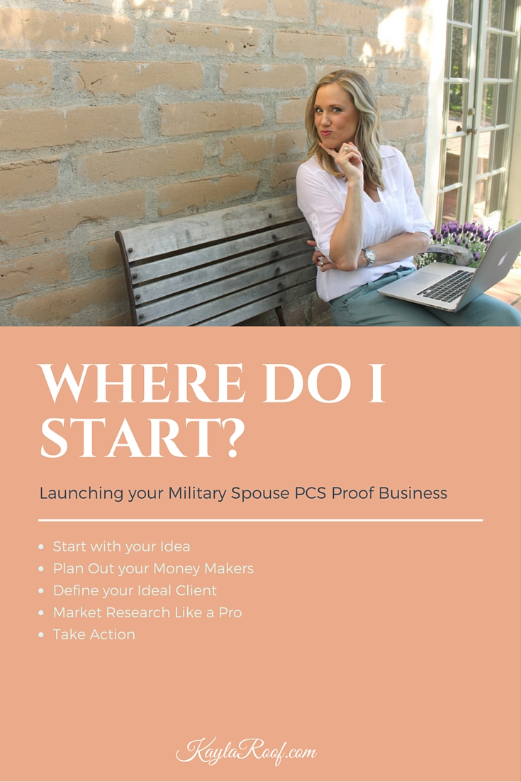 Find out Where to Start When Launching Your Military Spouse Owned Business! Follow these tips to have your work from home business up and going in no time. Click to discover how easy it is to start a PCS Proof Business. | Kayla Roof Business Advisor for Ambitious Military Spouses