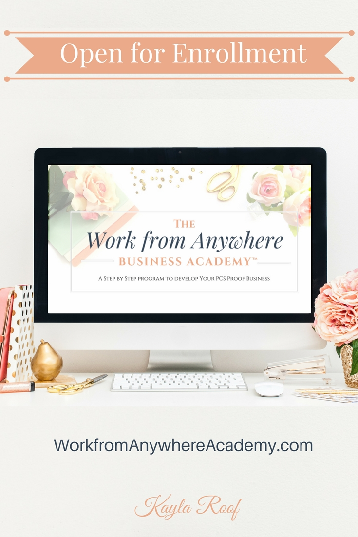The Work from Anywhere Business Academy is NOW OPEN for enrollment for a limited time. Details at http://www.workfromanywhereacademy.com