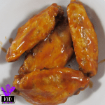 Pressure cooked, air fried, sauced chicken wings