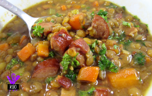 Lentil and Sausage Soup, cooked in an electric pressure cooker