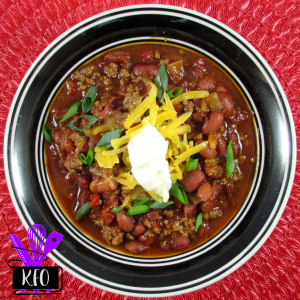 Instant Pot Red Chili with toppings