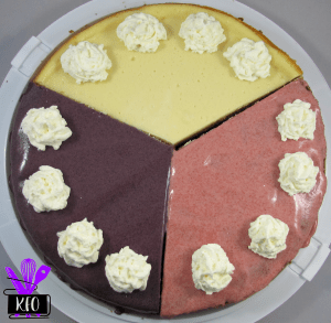 Naturally flavored Red White and Blue Cheesecake Trio