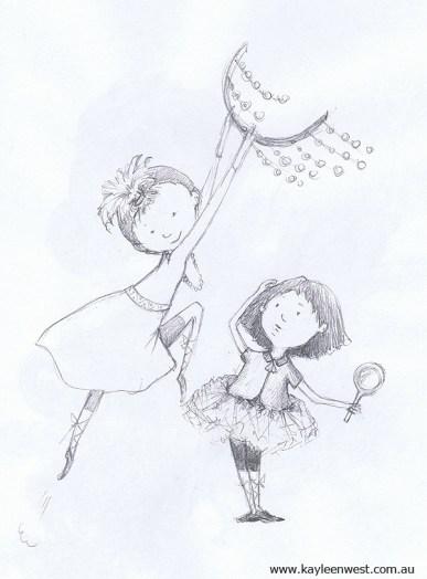 Children's Illustration: Sketches - Girls playing