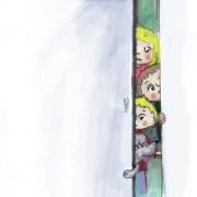Children's illustration: Kids peeking through doorway waiting to be fed.