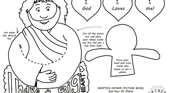 Free colouring printables - Jesus hugs me mobile.