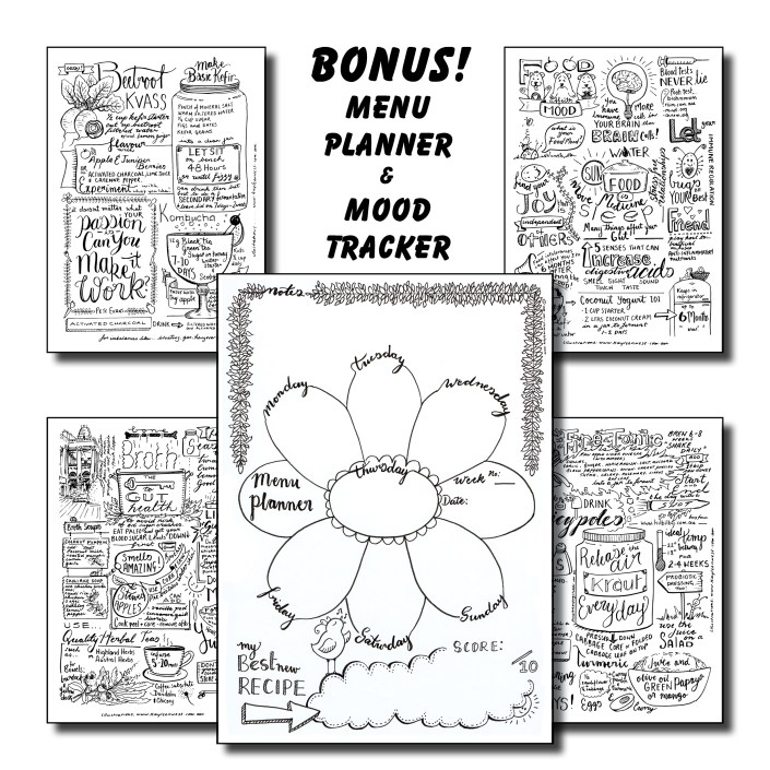 Pete Evans Gut Health Event Illustrated Notes Pack - Bonus Meal Plan and Mood Tracker Page