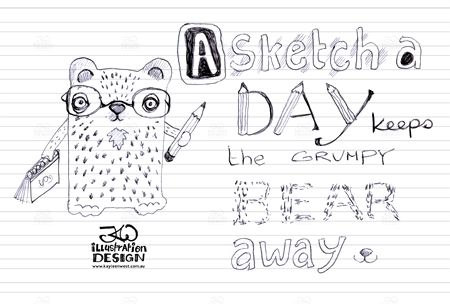 INKtober 2014. An inked sketch each day for the month of October. A sketch a day keeps the grumpy bear away. My quote. Surface design sketch. #inktober