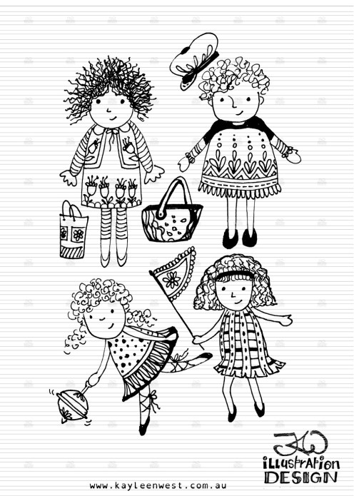 INKtober 2014. An inked sketch each day for the month of October. Little girls so out to play illustration. #inktober