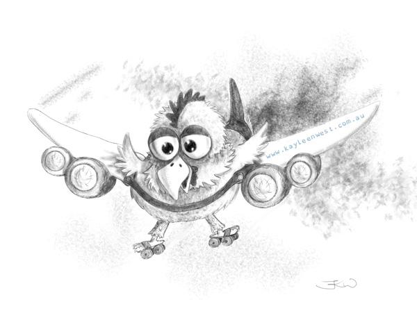 Digital black and white sketch. Airplane Chicken. Airochook. Children's picture book illustration.