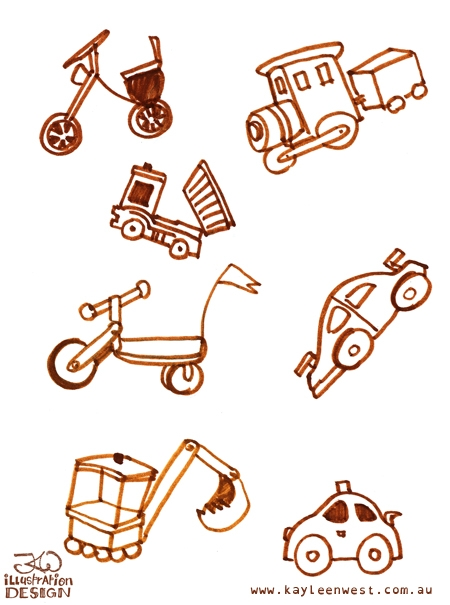 INKtober 2014. An inked sketch each day for the month of October. Today it is a inked wooden toys for a surface design illustration. #inktober