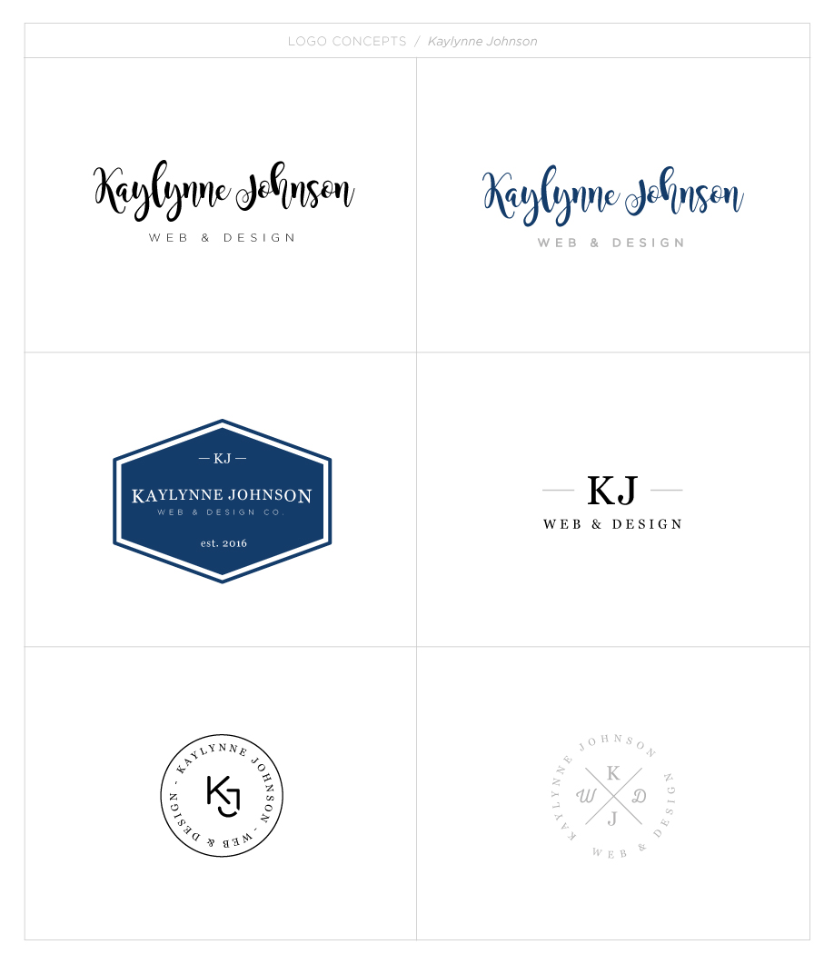 Kaylynne Johnson - web & design Logo concepts