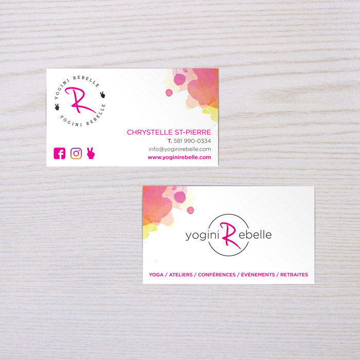 Yogini Rebelle | Cartes d'affaires | Design par Kaylynne Johnson - web & design | www.kaylynnejohnson.com