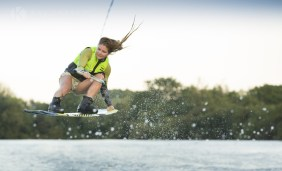 Boat wakeboarding
