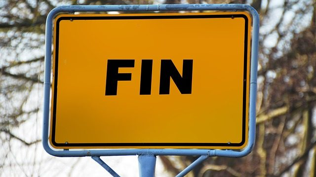 A roadside sign that says FIN to indicate the manuscript phase is complete and the document will remain inclusive if it remains active