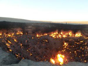 Darwaza gas crater, burning since 1974