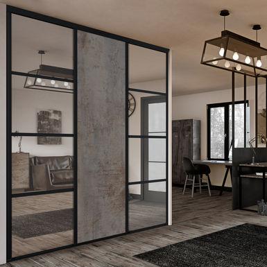Facade De Placard Coulissante 3 Portes Miroir Argent Decor Beton Cuivre Kazed