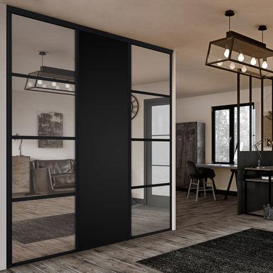 Facade De Placard Coulissante 3 Portes Miroir Argent Decor Noir Intense Kazed