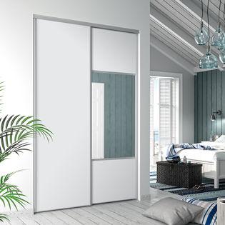 Facade De Placard Coulissante 2 Portes Decor Blanc Mat Miroir Argent Kazed