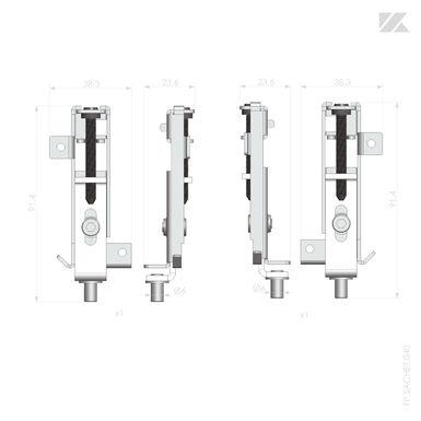 2 Pivots Pour Facades De Placard Pivotantes Aluminium Kazed