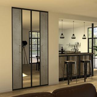 Facade De Placard Pliante 2 Portes Decor Beton Wood Miroir Argent Kazed