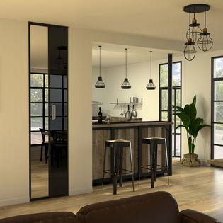 soul 10 facade de placard pliante 1 porte verre laque noir miroir argent