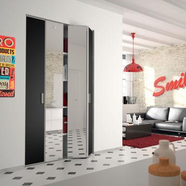 Facade De Placard Pliante 2 Portes Decor Noir Intense Miroir Argent Kazed