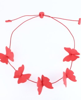 Collier Papillons orange corail