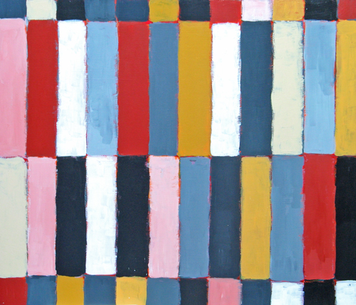 geometric expressionism, rectangular, colorful abstract stripe patttern acryic painting #1801, 2004 | Kazuya Akimoto Art Museum