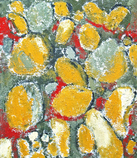 abstract, natural objects, repetition, bricolage, found objects, objet trouvé, texture, matière, acrylic painting #2017, 2004 | Kazuya Akimoto Art Museum