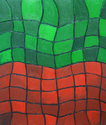 abstract geometric distorted grid pattern, complementary colors. distortion, distorted pattern, complementary juxtaposition, abstract geometric pattern, wet, glossy grooved linear pattern, abstract acrylic painting #2223, 2004 | Kazuya Akimoto Art Museum