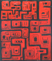 Machu Picchu, the Ancient Lost City of the Inca Empire : black and red, aerial abstract ancient cityscape painting, rectangular allover geometric pattern, dark red ancient architectural pattern, abstract architecture, stone building symbolism, abstract map, abstract red, historical sanctuary theme, acrylic painting #2379, 2004 | Kazuya Akimoto Art Museum