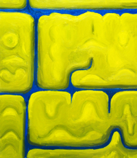 Yellow Monsters playing Hide-and-Seek among creeks  : Naive symbolism, abstract landsacpe, hidden image, abstract 3d monsters, yellow mass pattern, abstract yellow color symbolism, complementary color theme, acrylic painting #2394, 2004 | Kazuya Akimoto Art Museum