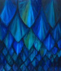 abstract, dark, blue, animal symbolism, repetition, natural pattern symbolism, cave bat theme, acrylic painting #2459, 2004 | Kazuya Akimoto Art Museum