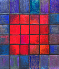 Isolated 16 Red Squares : geometric square pattern painting, dark red colorful gothic pattern, abstract texture painting, geometric symbolism, square symbolism, red color symbolism, color symbolism, complementary color pattern, geometric symbolism, pattern symbolism, geometric expressionism, square symbolism, dark blue, dark purple, dark red color acrylic painting  #2512, 2004 | Kazuya Akimoto Art Museum
