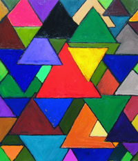 Triangular Colorful Invaders :abstract colorful triangle symbolism geometric pattern painting, geometric symbolism, repeated triangles, colorful pattern,  geometric pattern symbolism, abstract geometric acrylic painting #2530, 2004 | Kazuya Akimoto Art Museum