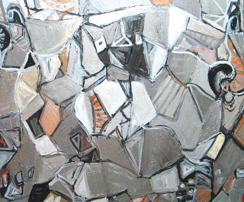abstract cubism, abstract people, philosophical, Plato, literature theme, silver cubism, still life, nature morte, interior, metallic color, acrylic painting #3801, 2005 | Kazuya Akimoto Art Museum