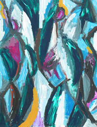 The Abstract Three Graces  : contemporary  mythical theme, abstract humans, mythological, abstract human figures, abstract  woman female body forms, abstract thick line movement, abstract expressionism, blue, magenta, yellow, dynamic movement pattern, abstract symbolism, acrylic painting #4178, 2005 | Kazuya Akimoto Art Museum