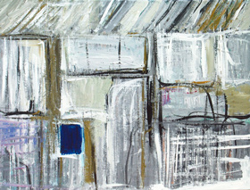 Tiny Blue Opening in White Wall : abstract graffiti, brush stroke, rectangular straight handwriting line pattern, geometric, abstract expressionism, blue black, white, acrylic painting $4259, 2005 | Kazuya Akimoto Art Museum