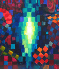 The Dharmakaya (The Abstract Truth Body of Buddha) : religious geometric pattern symbolism painting, abstract Buddha, abstract Dharma, Buddhism, contemporary religious theme painting, light symbolism, square, circle, patterns, checkered pattern, abstract acrylic painting #4403, 2005 | Kazuya Akimoto Art Museum