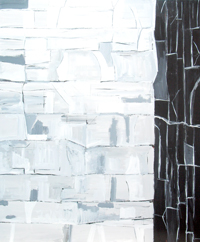 Line Cubism Ice Wall : black and white, abstract line cubism, linear abstraction, abstract natural scene, abstract landscape, abstract natural pattern, acrylic painting #4475, 2005 | Kazuya Akimoto Art Museum